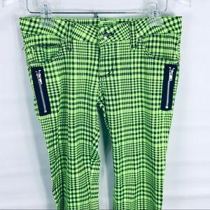 Tripp NYC Green Plaid T-Back Skinny Jeans size 3